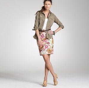 J. Crew Watercolor Floral Pencil Skirt